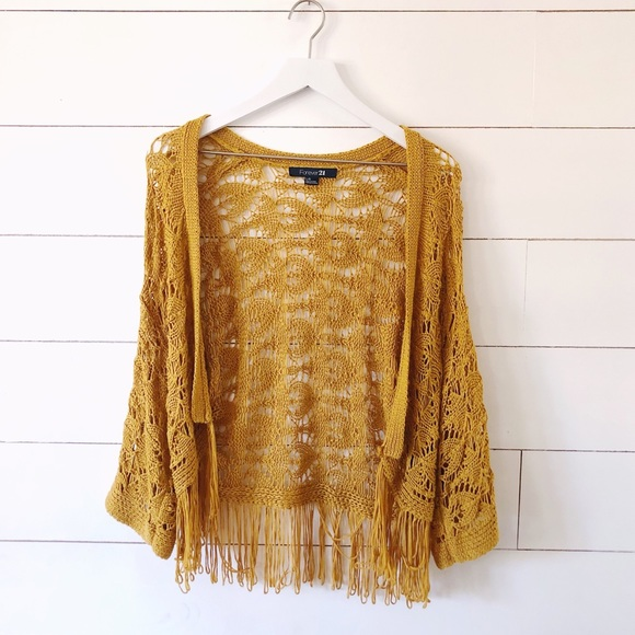 20d914d31155d1 Free People Sweaters - Mustard yellow boho crochet fringe shawl cardigan